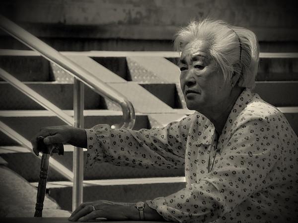 Woman resting, Ming Tombs, near Beijing