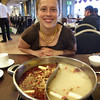 Emilie admiring our Mongolian hotpot broth