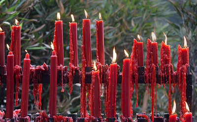 devotional candles at a monastary in China