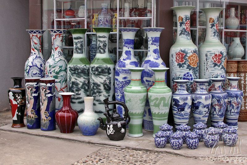 Porcelain and Ceramic decorated pots at a shop in city