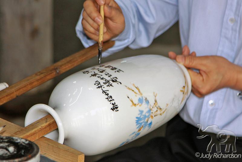 Lettering on porcelain jug