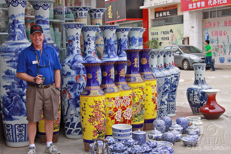 Alan matching the blues in enormous jugs