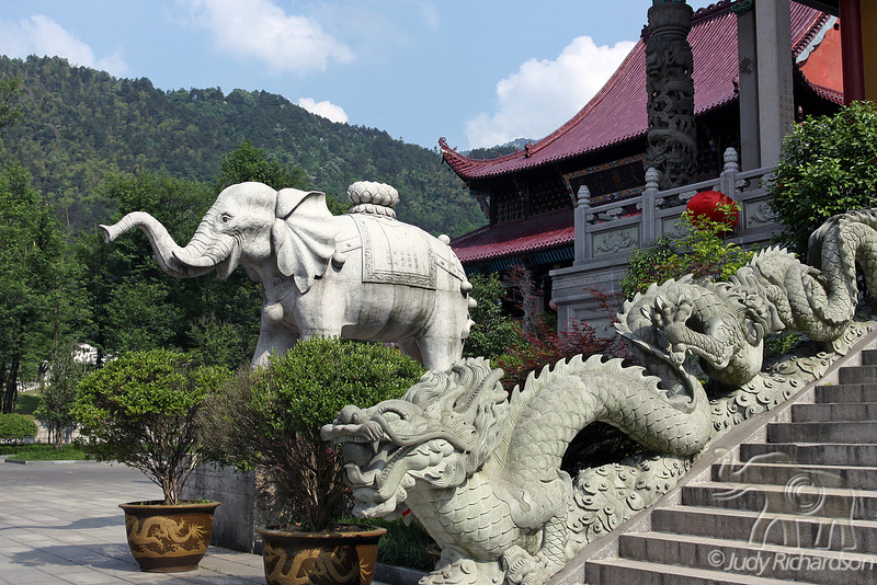 Dragon guarding the stairway to the temple with elephant in background