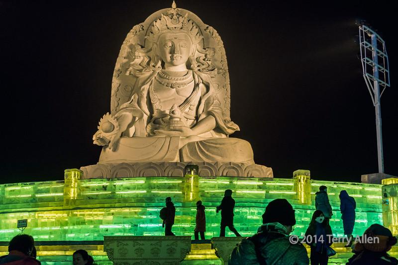 Chinese Buddha statue at the Harbin Ice Festival, China