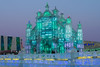 Ice palace at dusk, Harbin Ice Festival