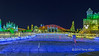 Star field and multi-coloured ice buildngs, Harbin Ice Festival,China