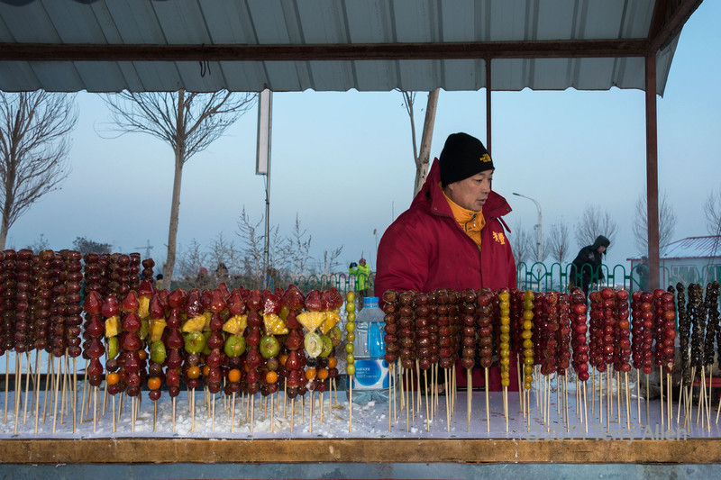 Frozen candied fruit stand, Ice Festival, Harbin, China