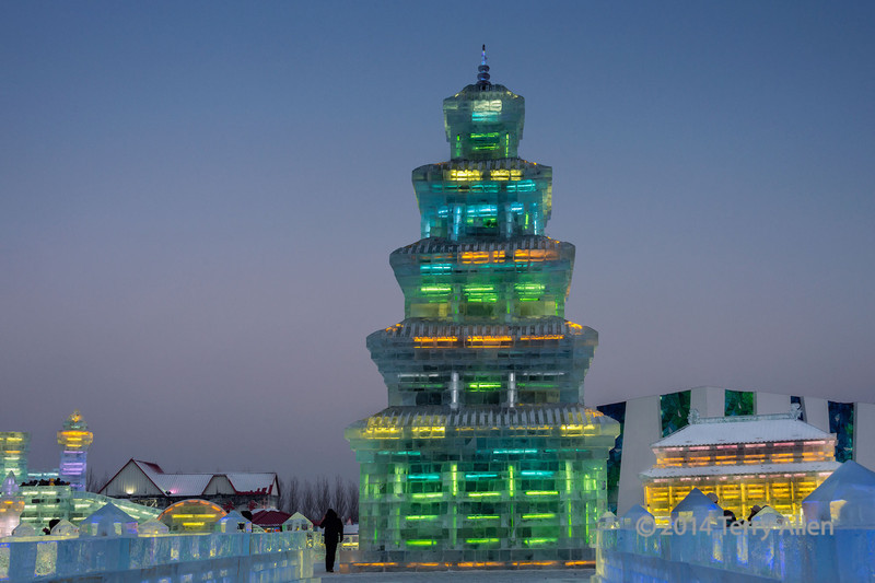 Ice pagoda with multi-coloured lights, Harbin Ice Festival