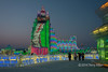 Multi-coloured lights on an ice building, Harbin Ice Festival,China