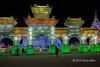 Chinese gate made of ice blocks, Harbin Ice Festival, China