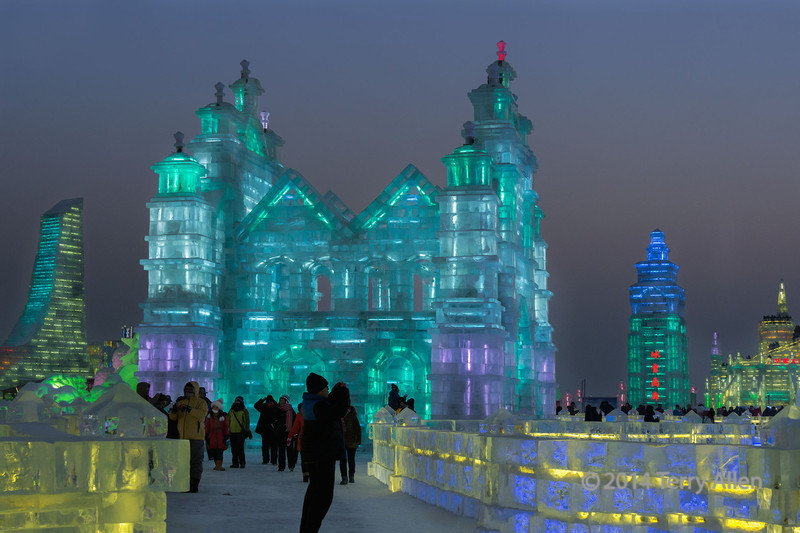 Ice cathedral at dusk, Harbin Ice Festival