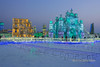 Multi-coloured ice buildings at -33C, Harbin Ice FestivalSk