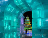 Chinese ice pagoda seen through an ice arch, Harbin Ice Festival,China