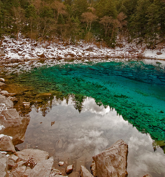 When a jealous devil harrased the goddess Wunosemo, it made her drop her magic mirror which shattered into 108 turquoise lakes like this one (and the ones shown on the next slides) in the Jiuzhaigou Nature Preserve in northern Sichuan Province