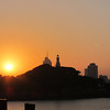 Little Qingdao Lighthouse at sunset.