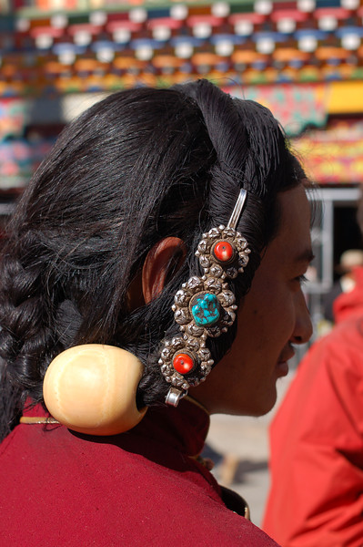 An ornate head piece made from yak's bone