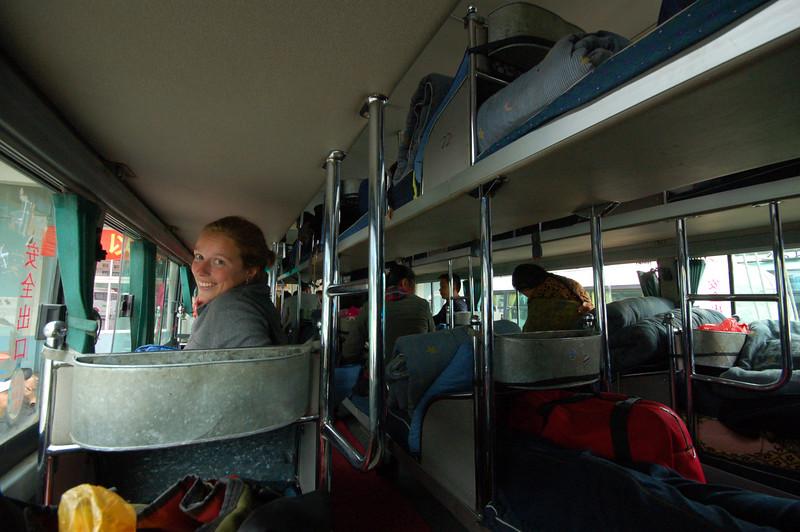 Emilie on the Xining-Yushu sleeper bus