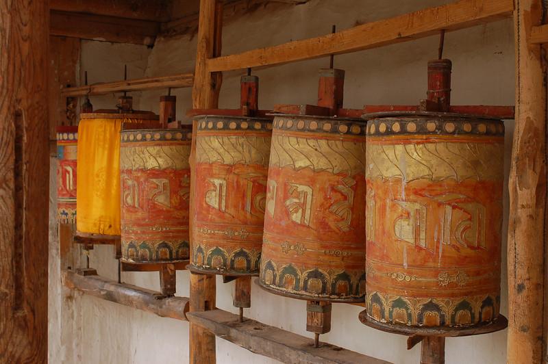 Prayer wheels of the Gomar Gompa