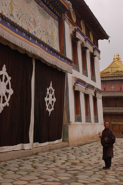 Outside a temple of the Rongwo Gonchen Gompa