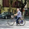 Biking with His Crutches
