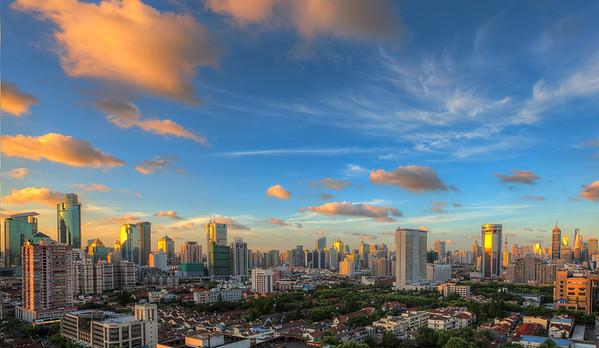 Shanghai sunset to sunrise