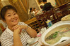 Laura with fish head soup