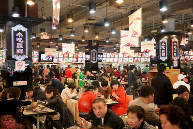 A bustling food court in Shanghai, China