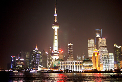 Shanghai's skyline from The Bund at night, Shanghai, China