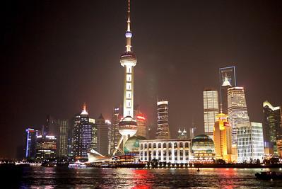 Shanghai's skyline from The Bund at night, Shanghai, China