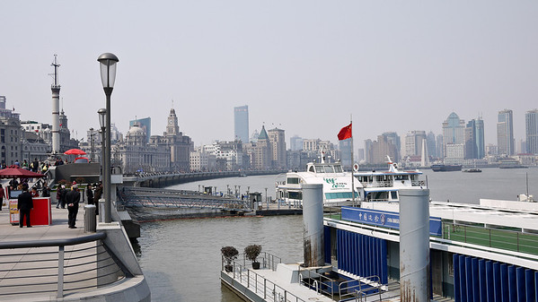 The Bund is busy all day in Shanghai, China