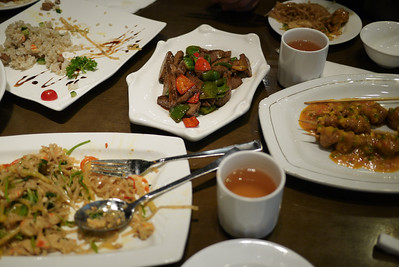 Table full of good veggie eats in Shanghai, China