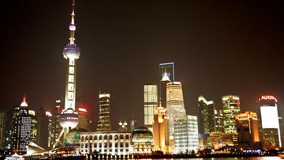 Nightime Skyline in Shanghai, China