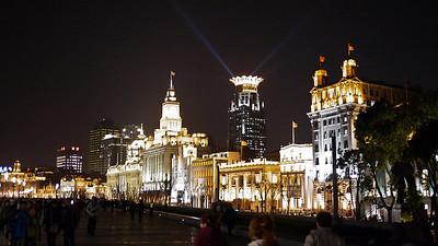 Shanghai lit up at night, China
