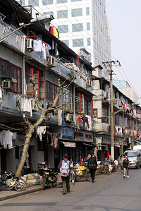 A residential street right in the middle of the street in Shanghai, China