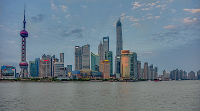 View towards Pudong at sunset.  HDR from three shots.