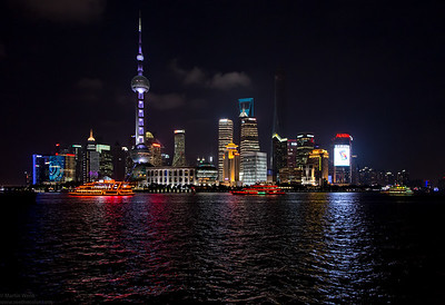 View towards Pudong after dusk.
