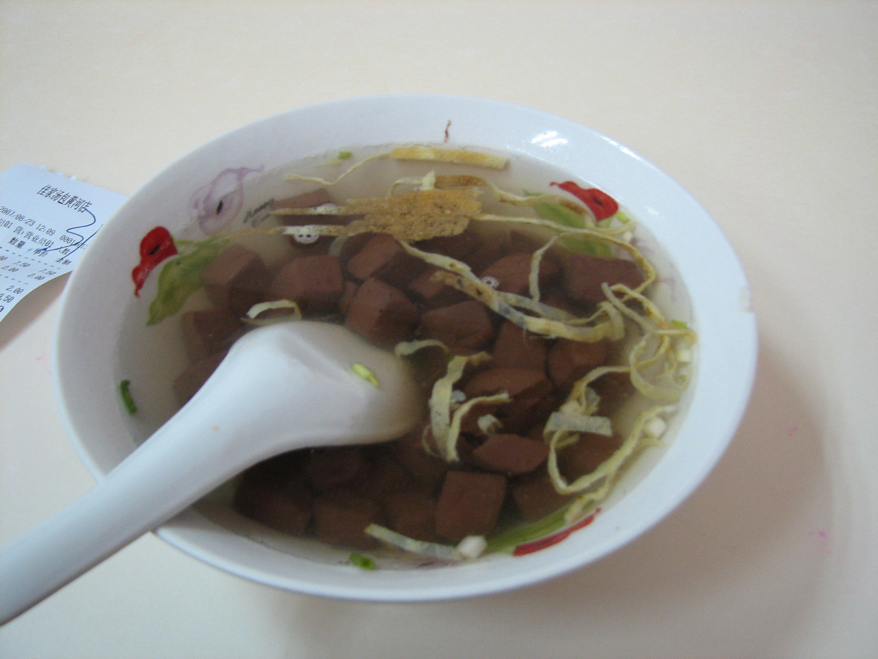 鸡鸭血汤 (chicken and duck blood soup) - better than it sounds