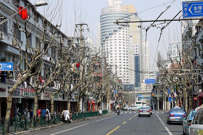 Residential street in Shanghai, China