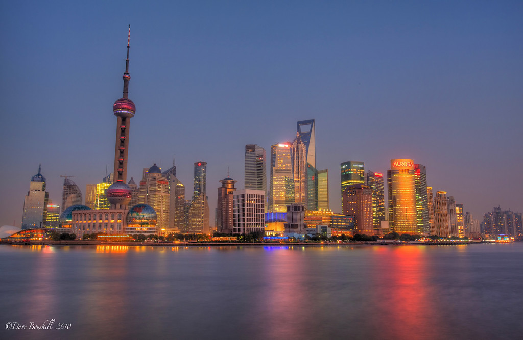 Shanghai skyline at twilight from The Bund.