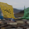 "The high altitude & brisk winds of Shangrila cause the prayer flags to flap in the air.  Travel photo from Zhongdian, China. <a href=""http://nomadicsamuel.com"">http://nomadicsamuel.com</a>"