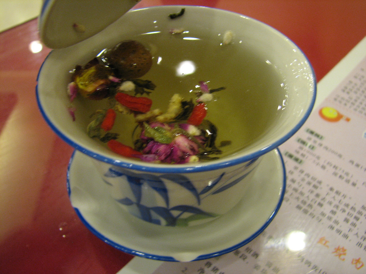 Delicious flower tea. Toward the end this had an almost cinnamon taste.