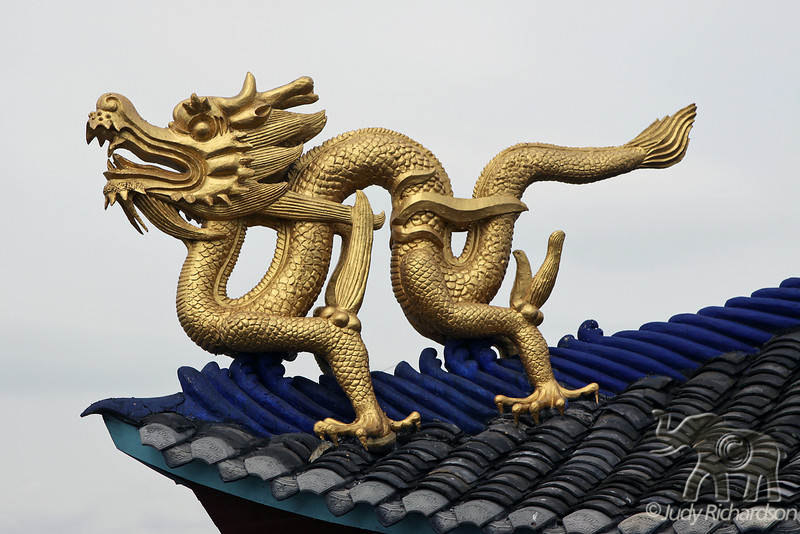 Golden Dragon on roof top of Shibaozhai Pagoda