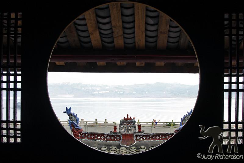 Roof decorations through window at Shibaozhai Pagoda
