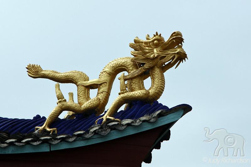 Golden Dragon on roof top of Shibaozhai Pagoda