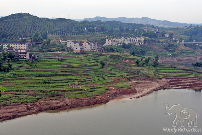 Village and rice terraces from top of Shibaozhai Pagoda