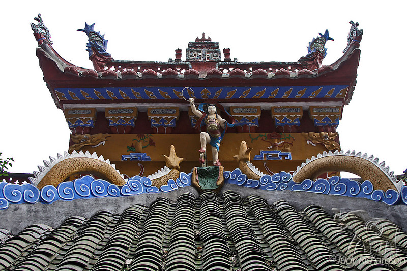 Ornate details on Shibaozhai Pagoda roof