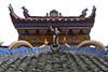 Ornate details on Shibaozhai Pagoda roof