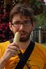 Yann chews on sugarcane