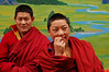 Monks in front of painting, Nanhu Monastery