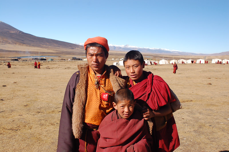 Monks pose for the camera